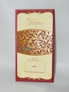 Undangan Pernikahan Semi Hard Cover Merah Emas EB-88136
